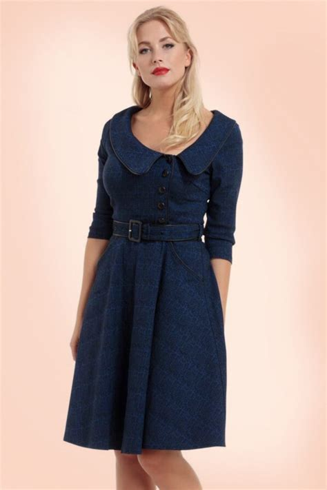 30s swing dress 40s lilly swing dress in dark blue
