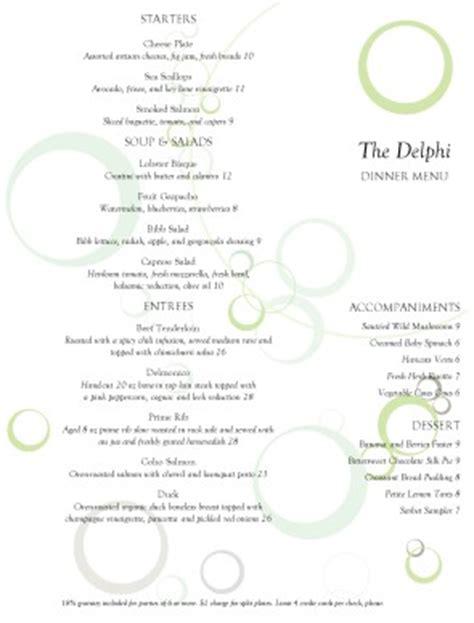 fine dining restaurant menu fine dining menus