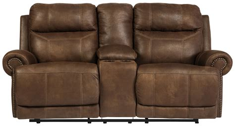 ashley furniture dual reclining sofa signature design by ashley austere brown double