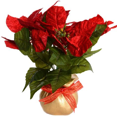 beautiful 30cm 12 quot artificial poinsettia plant with gold