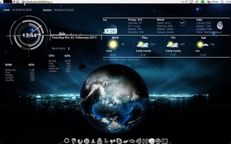 Live Earth Wallpaper Ubuntu | ubuntu live earth wallpaper xplanetfx with conky for a