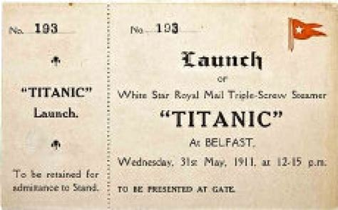 printable titanic tickets auction offers original titanic launch ticket first class
