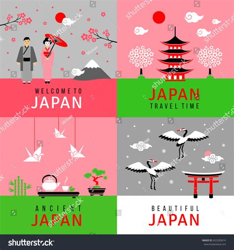 japanese new year cards template square cards traditional japanese symbols flat stock
