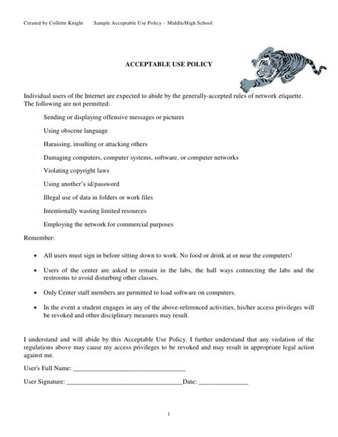 Sle Acceptable Use Policy Upper Grades Student Acceptable Use Policy Template