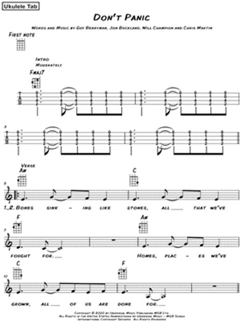 coldplay don t panic chords coldplay quot don t panic quot ukulele tab download print
