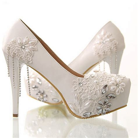 white wedding dress shoes free shipping newest white flower rhinestone wedding dress