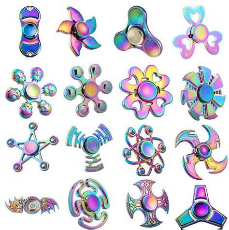 Rainbow Tri Fidget Spinner Multi Color Acak tri finger fidget spinner metal mini multi rainbow color spinner set edc wheel kid