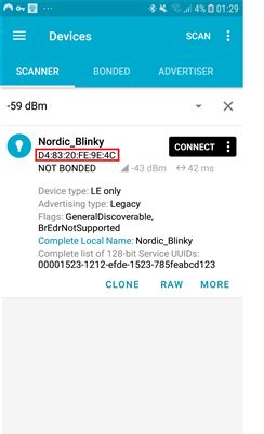 ble connection  mac address issue nordic qa
