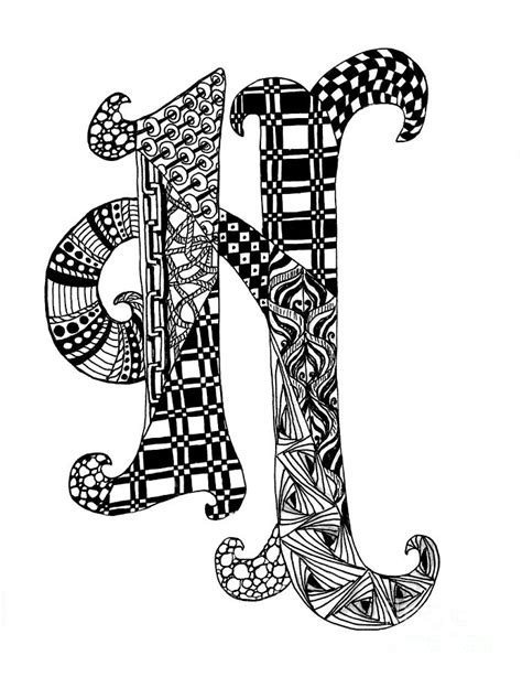 Letter H Drawing by Letter H Monogram In Black And White Drawing By Nan Wright