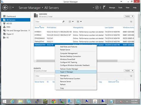 hyper v console server manager console hyper v manager servethehome