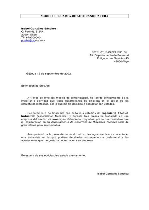 Modelo Carta Presentacion Curriculum Autocandidatura Carta De Autocandidatura