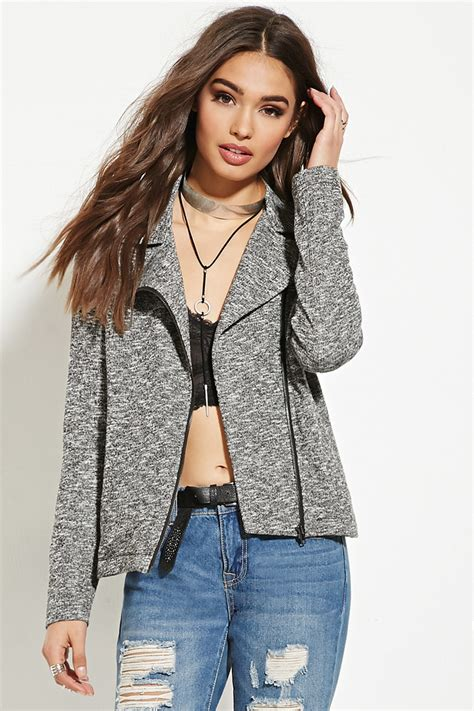 knit moto jacket forever 21 forever 21 marled knit moto jacket in gray lyst