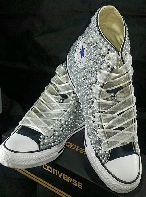 Wedding Shoes Converse by Bridal Converse Wedding Converse Bling Pearls Custom