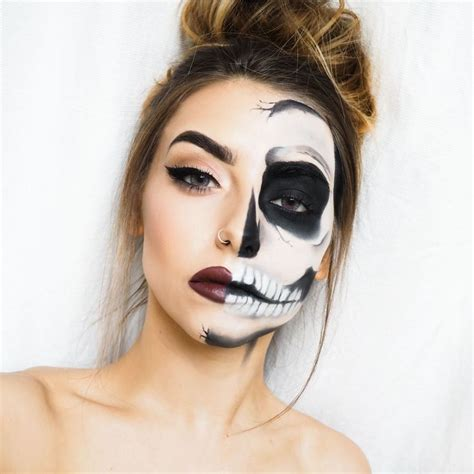 eyeliner tutorial for halloween cute half skull makeup www pixshark com images
