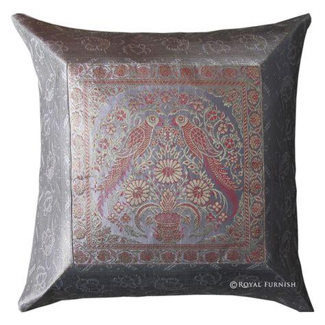 16 quot light gray decorative animal silk brocade throw pillow