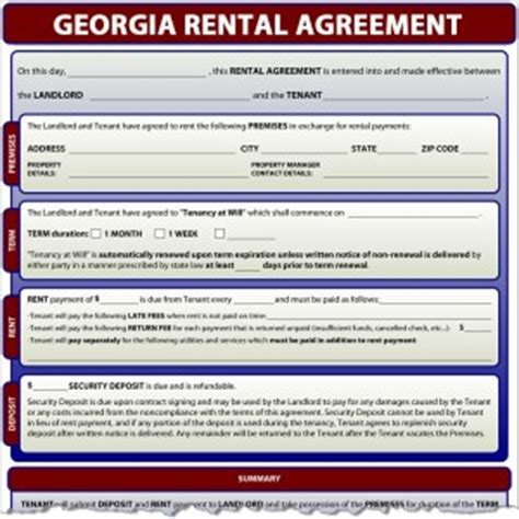Rental Agreement Letter Ga Rental Agreement