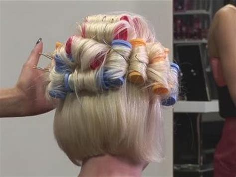 how to style a bob with heated rollers how to put your hair in hot rollers youtube