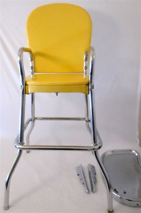Vintage Cosco High Chair by Vintage Cosco Canary Yellow And Chrome High Chair Stool