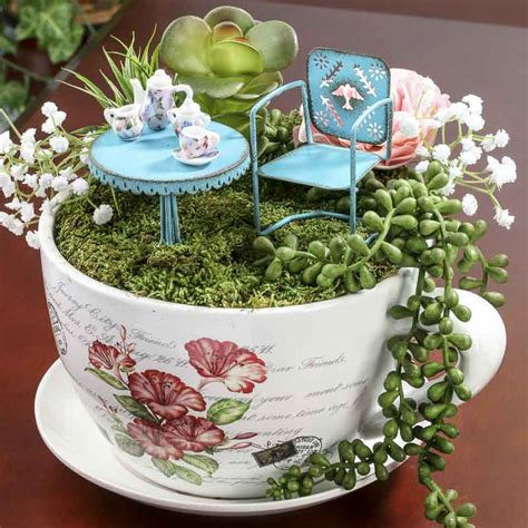french inspired miniature tea cup garden and saucer flower