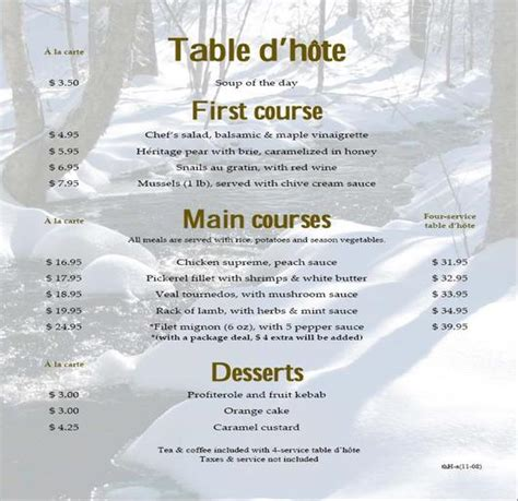 Table D Hôte by Table D Hote 3 Restaurant Menu Formats