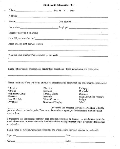 chi client information form massage business massage intake forms massage massage therapy