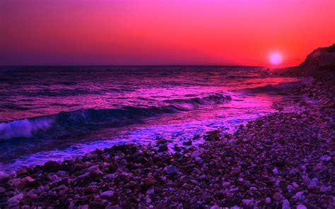 Lila Sonnenuntergang über dem Meer wallpaper