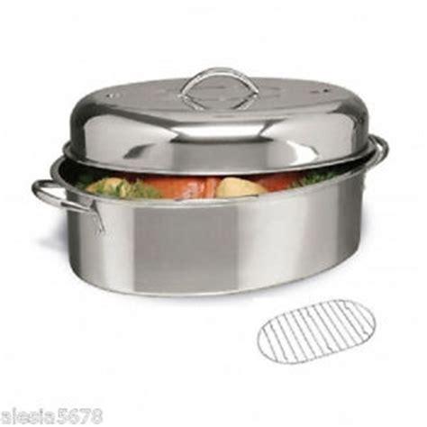 Turkey Roaster With Rack by Cuisine Select 16 034 Oval Turkey Roaster Pan With Lid Roasting Rack Stainless Steel Ebay