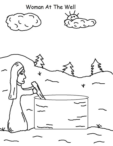 jesus and the samaritan at the well coloring pages texting clip clipart best