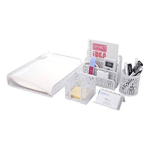 Crystallove Set Of 5 White Metal Mesh Desk Accessories White Desk Accessories