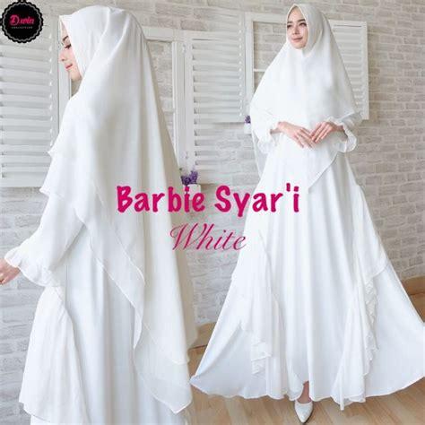Jilbab Antem Duyung Tali gamis syari premium putih baju muslim polos