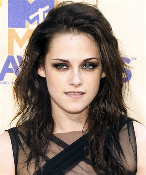 actress short on top long on bottom hairstyle kristen stewart long wavy casual hairstyle