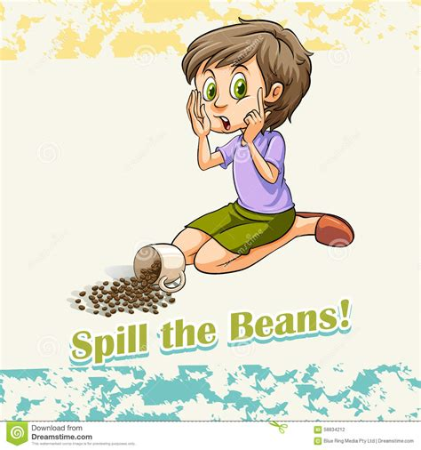 Spills The Beans by Idiom Spill The Beans Stock Vector Image Of Wording
