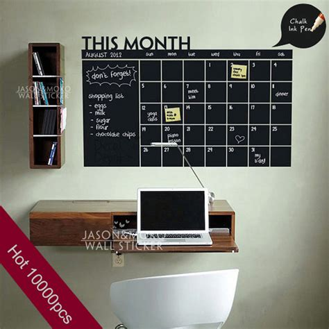 Diy Monthly Planner Chalkboard Vinyl Wall Calendar Sticker