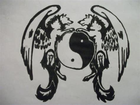 tribal yang tattoos tribal wolf ying and yang 1 000000052810 1 jpg
