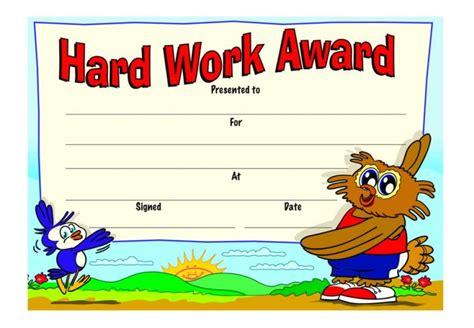 Hard Work Award' certificate   School Merit Stickers