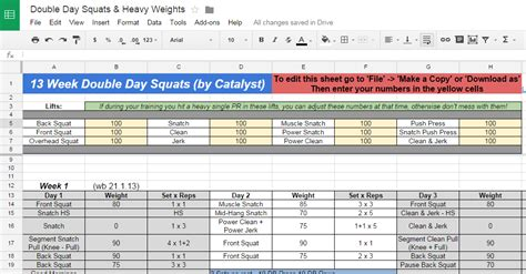 Weight Lifting Spreadsheet by 13 Week Day Squats Weightlifting Program