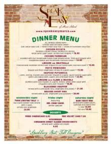 dinner menu the speakeasy marco island