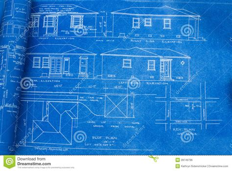 Blue Print Of House by Mid Century Home Blueprint Royalty Free Stock Image