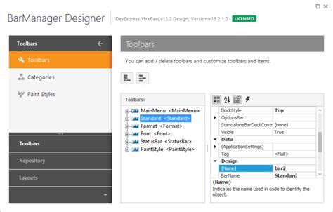 devexpress layout manager wpf bar manager designer ribbon bars and menu winforms