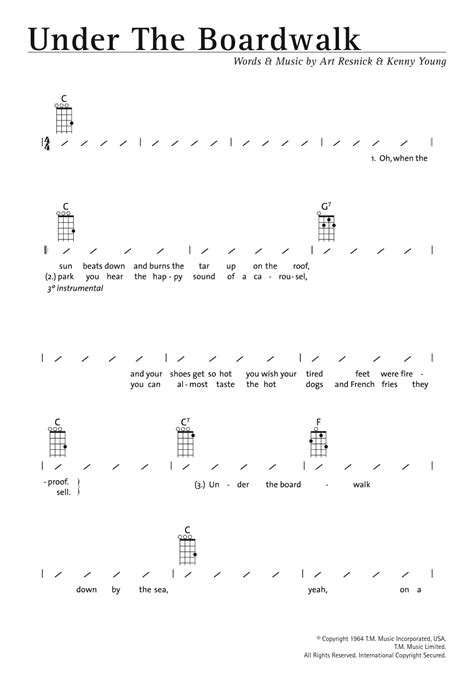 printable lyrics to under the boardwalk under the boardwalk sheet music direct