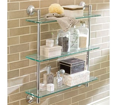 triple glass shelf bathroom mercer triple glass shelf pottery barn