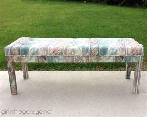 diy tufted bench diy tufted reupholstered bench makeover girl in the garage 174