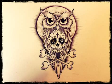 sugar owl tattoo design 20 owl skull tattoos designs