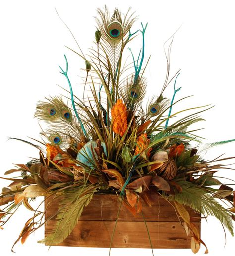 details about artificial flower arrangement peacock large floral in wooden box with peacock feathers rustic
