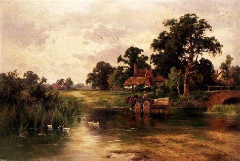 H Painting by Across The Ford Henry Hillier Summer