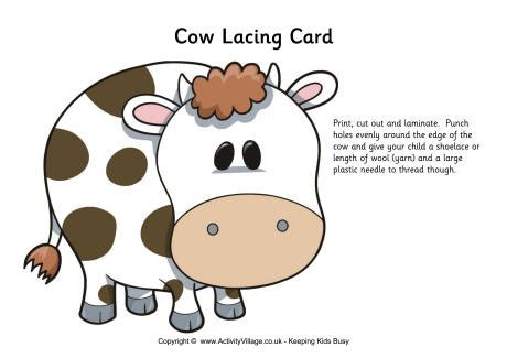 Lacing Card Template by Cow Template For Preschool Www Pixshark Images