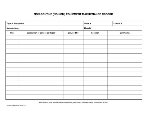 equipment log book template best photos of equipment maintenance form template
