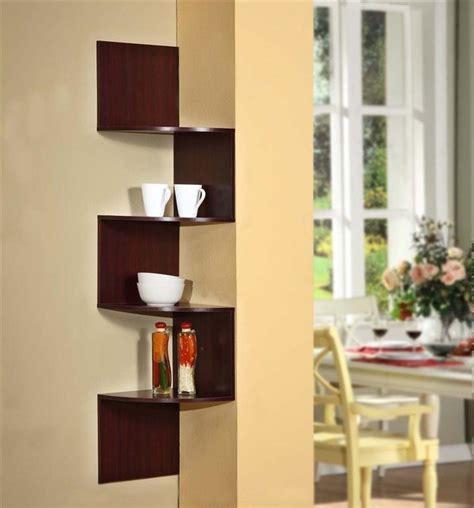 modern staggering corner bookshelf in cherry
