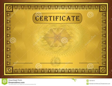 certificate gold frame stock vector image of gold
