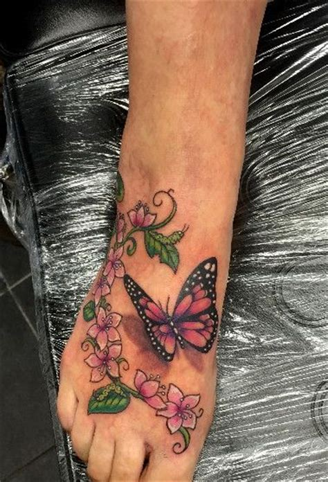25 unique flower leg tattoos collection of 25 butterfly n flower on foot